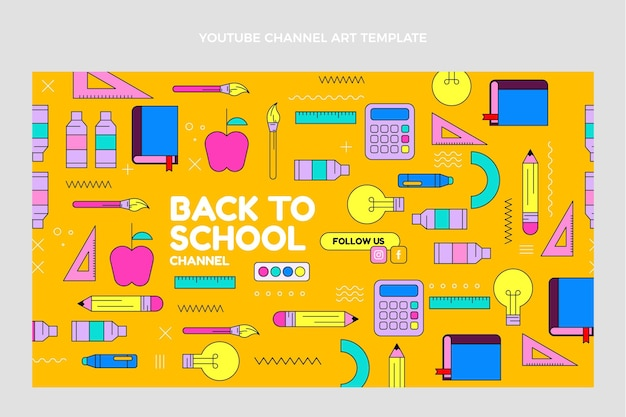 Flat back to school youtube channel art template