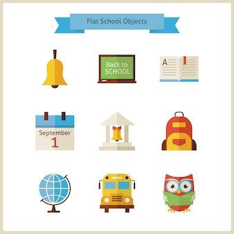 Квартира обратно в школу и набор объектов науки. плоский стиль векторные иллюстрации. обратно в школу. набор науки и образования. коллекция объектов, изолированных на белом.