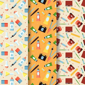 Плоская коллекция шаблонов обратно в школу