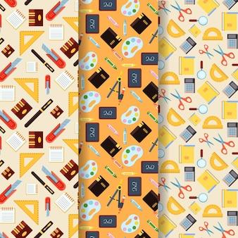 학교 패턴 컬렉션에 플랫 백