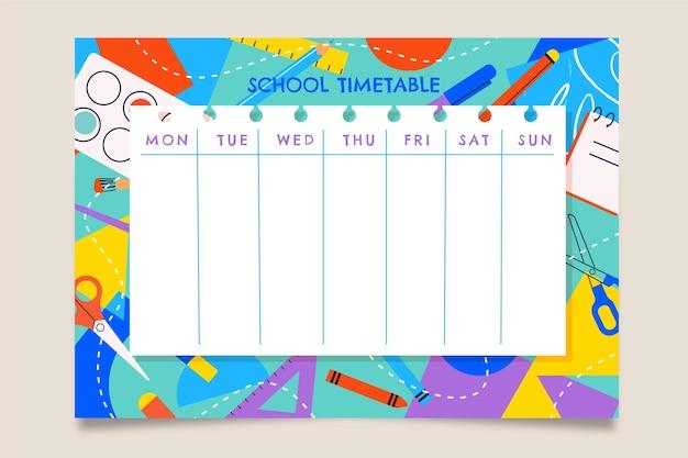 Плоский обратно в школу шаблон расписания