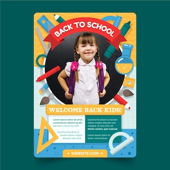 Плоский обратно в школу вертикальный шаблон плаката с фотографией
