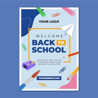Плоский обратно в школу вертикальный шаблон плаката