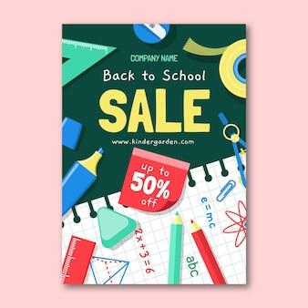 Плоский обратно в школу вертикальная распродажа флаер шаблон