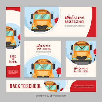 Flat back to school web banners