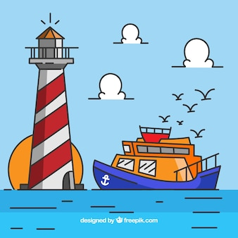 Flat background of boat and lighthouse