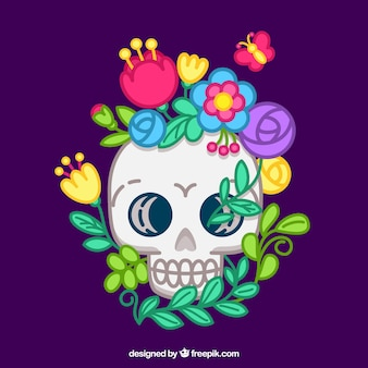 Flat background of colored floral skull
