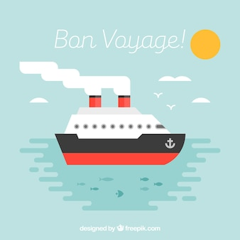 Flat background of cruise with red details
