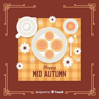 Flat background design for mid autumn festival