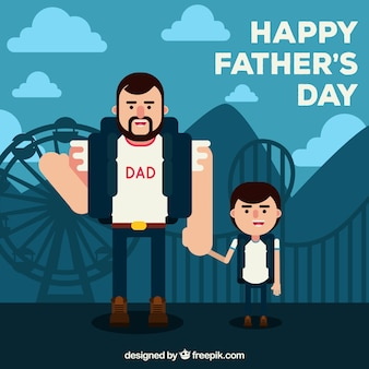 Flat background of father with his son