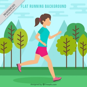 Flat background of girl running in the park