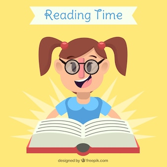 Flat background of happy student reading