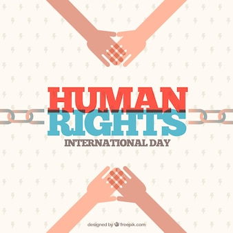Flat background for human rights day with chain and hands