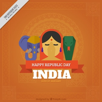 Flat background for indian republic day