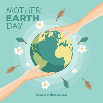 Flat background for the international earth day