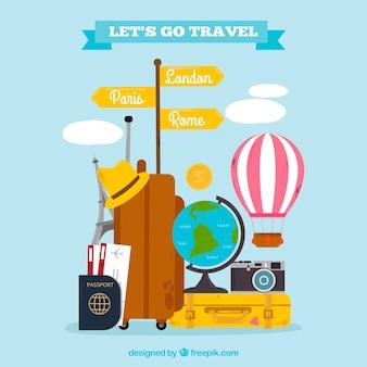 평평한 배경 여행 가자