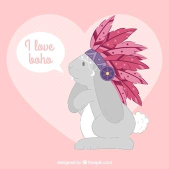 Плоский фон милый кролик с перьями