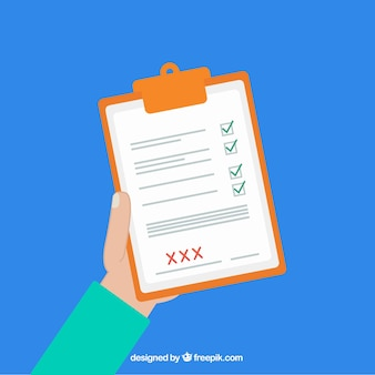 Flat background of hand with clipboard and checklist