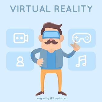 Плоский фон человека нажав виртуальную иконку