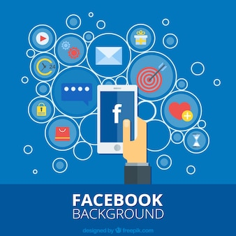 Flat background of mobile circles with facebook