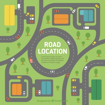 Flat background of road map with vehicles and trees