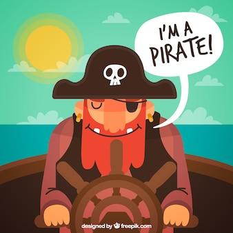 笑顔の海賊の平らな背景