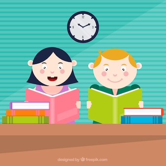 Flat background of two kids reading
