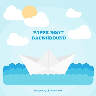 Flat background of paper boat and waves in blue tones