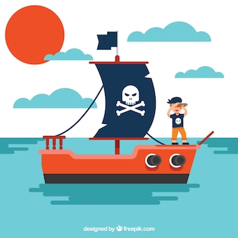 Flat background of pirate on his ship