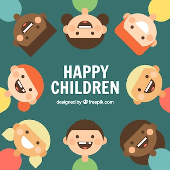 Flat background of smiling kids Free Vector