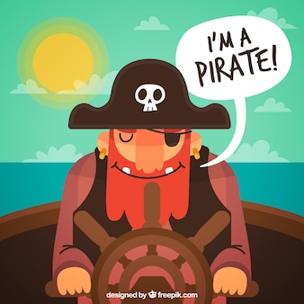 Flat background of smiling pirate