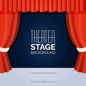Flat background of theater stage with red curtains