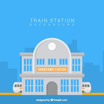 Flat background of train station