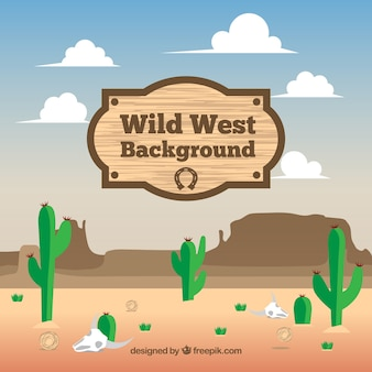 Flat background of wild west with green cactus