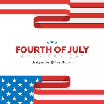 7月4日の抽象フラッグを持つフラットな背景