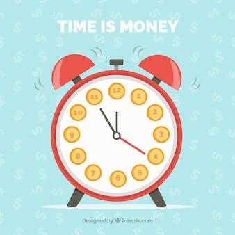 Flat background with alarm clock and dollar symbols