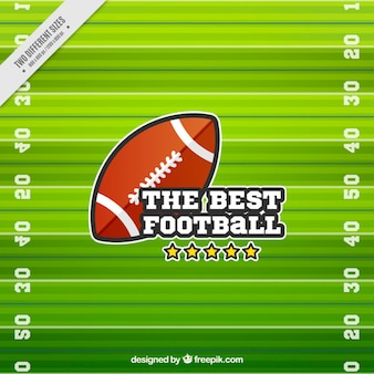 Flat background with ball and american football pitch