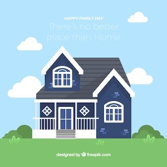 Плоский фон с голубым домом для семейного дня