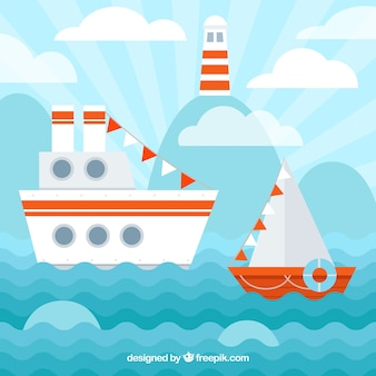 Flat background with boats and lighthouse
