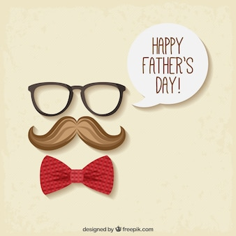 Flat background with bow tie and moustache for father's day