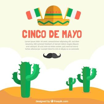 Cinco de mayoのためのサボテンと平らな背景