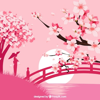 Flat background with cherry blossom