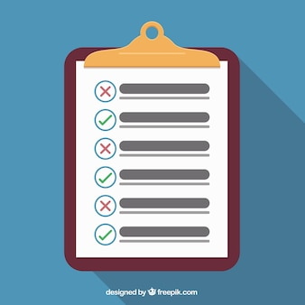 Flat background with clipboard and checklist