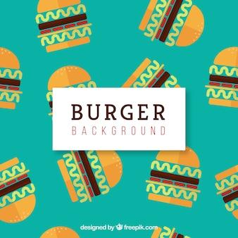 Sfondo piatto con hamburger decorativi