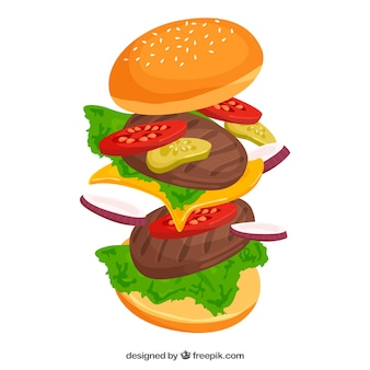 Flat background with double burger and tasty ingredients
