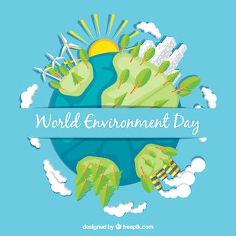 Flat background with earth and trees for world environment day