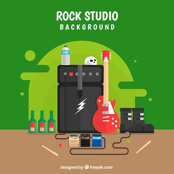 Flat background with electric guitar and amplifier