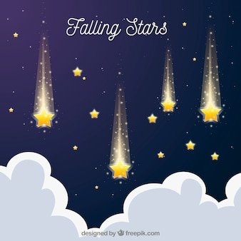 Flat background with falling stars