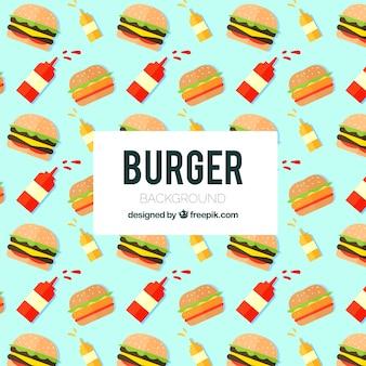 Плоский фон с гамбургерами и соусами