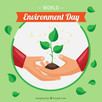 Flat background with hands and plant for world environment day